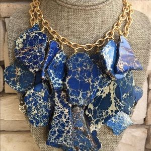 Navy blue double strand jasper slab necklace
